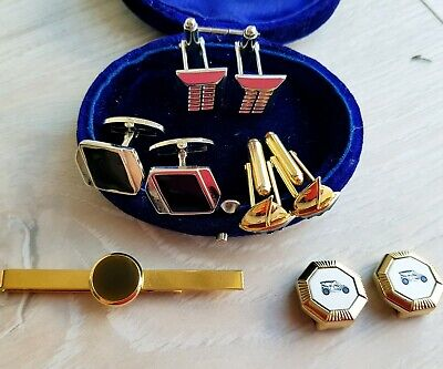 35 X VINTAGE CUFFLINKS, TIE PINS & CLIPS inc  Gold Plated