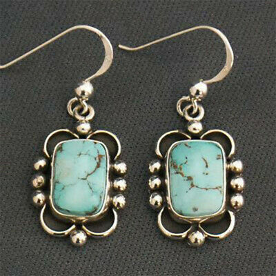 Handmade 925 Silver Turquoise Dangle Drop Earring Women Jewelry Gift Anniversary