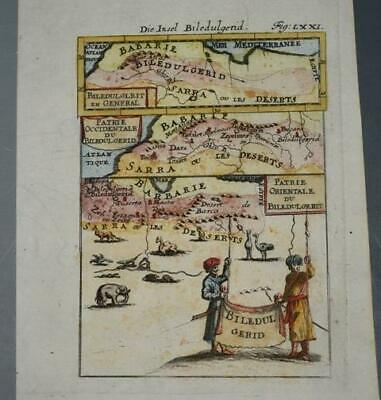 RARE Early Printing Mallet 1685 MAP of North Africa Biledul Gerid HAND COLOURED