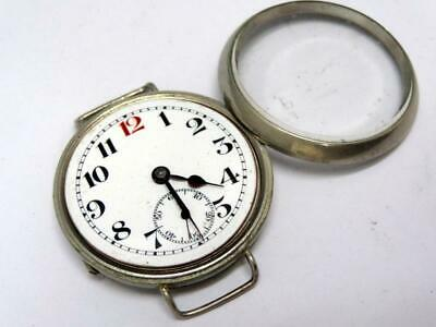EARLY 1900's ELEM TRENCH WATCH 34mm NICKEL CASE NO CROWN SWISS MADE RUNS A/F