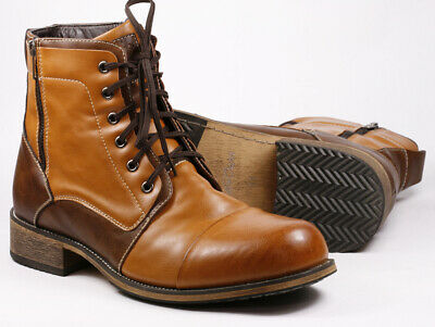 "Tan / Brown Men's Lace Up Cap Toe Casual Fashion boot "" PREOWNED """