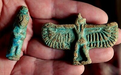 2 Ancient Egyptian Faience WINGED MAN & FIGURE Amulet Talisman Pendant Artifacts