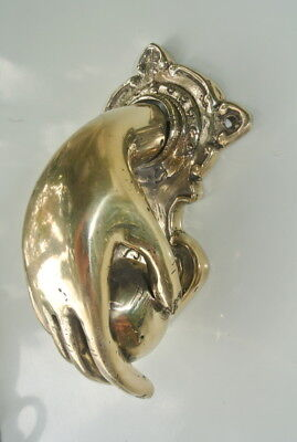 hand fist ball front Door Knocker fingers solid brass polished 16 cm old style B