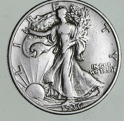 Strong Feather Details - 1936 Walking Liberty Half Dollars - Huge Value *447