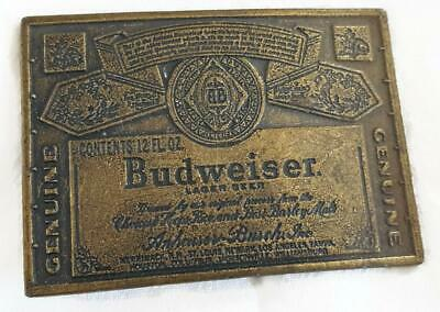 Vintage Budweiser Brass BELT BUCKLE - Beer Label - 3-3/8 Inch Long