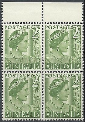 Australia 1951 2d QUEEN MOTHER, COIL PERF. Marginal BLOCK 4 Unhinged Mint SG237b
