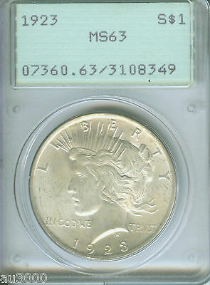 1923 Peace Silver Dollar Pcgs Ms63 Ms-63 Rattler Holder