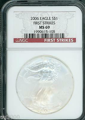 2006 American Silver Eagle ASE S$1 NGC MS69 FIRST STRIKES FS
