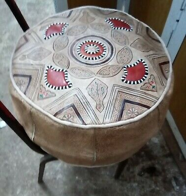 """Pack of 2 Moroccan handmade leather Pouf D20""""XH10"""" footstool Ottoman"""