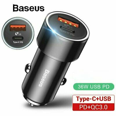 Baseus 36W USB Type C PD + QC3.0 Fast Car Charger for iPhone 8/X/XS Max S9 S10