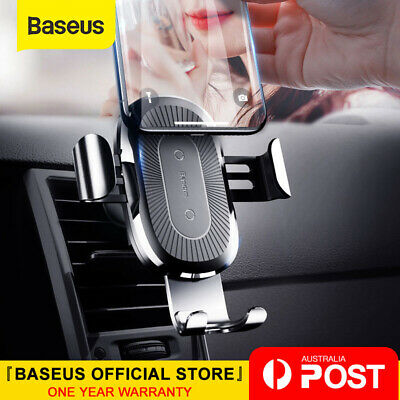 Baseus 10W Qi Wireless Charger Car Mount Holder for iPhone XS X Samsung S9 S10+