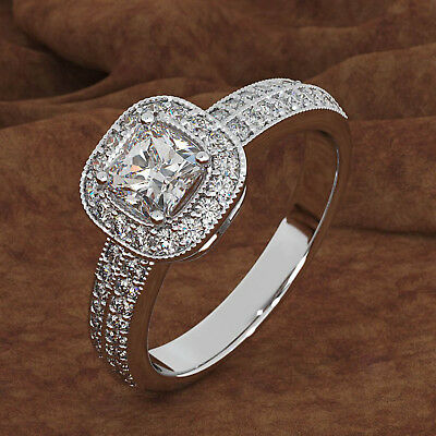 3 CT Princess Cut Diamond 14K White Real Gold Halo Engagement Ring For Women's