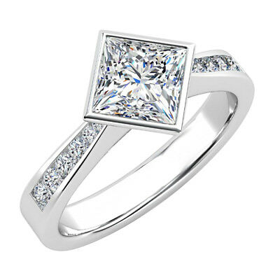 2.20 CT Princess Cut Diamond 10K White Real Gold Engagement Ring for Women's