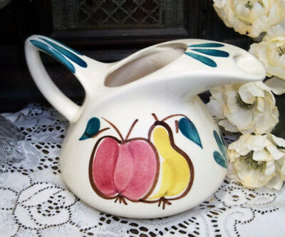 VINTAGE PURINTAN Hand Painted POTTERY WATER PITCHER Folk Art APPLE PEAR Ice lip