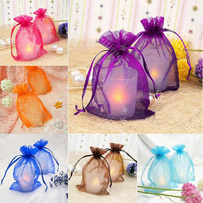 20-100Pcs Small White Organza Bags Wedding Favour Pouches Gift Candy Bag 10*15cm