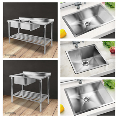 Cefito Commercial Stainless Steel Kitchen Bench Laundry Sink with Strainer Waste