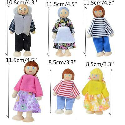 Sweet Dolls House Family of 6 Flexible Wooden Doll House Mini People Figures Toy