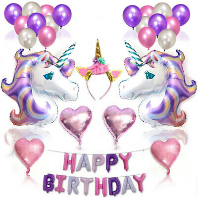 Self Inflating Unicorn Happy Birthday Letters Foil Balloons Party Baby Shower UK