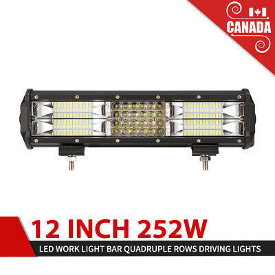 12 inch 252W LED Work Light Bar Quadruple Rows Flood Spot Offroad Driving Lights