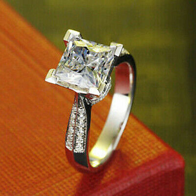 2.25Ct Princess Cut Diamond Solitaire Lovely Engagement Ring 10K Real White Gold