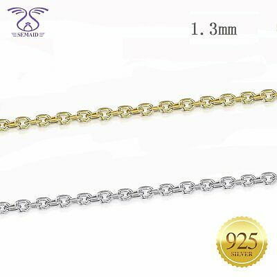 """1.3 mm 925 Sterling Silver Necklace Rolo Cable Link Chain 16"""" 18"""" 20"""" 22"""""""