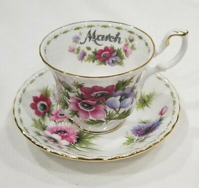 Vtg Royal Albert Flower Of The Month Bone China Tea Cup And Saucer March Anemone