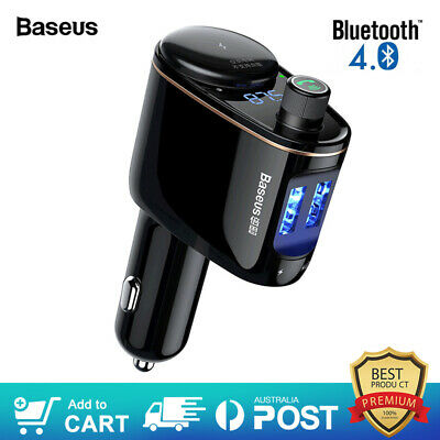 Baseus FM Transmitter Bluetooth Car Kit MP3 Audio Player LED Display Car Charger