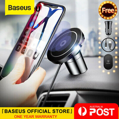 Baseus Qi Wireless Charger Magnetic Car Phone Holder For iPhone XS 8 Samsung S10