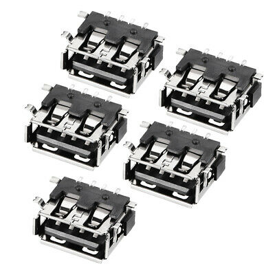 PCB USB Connector Type-A 4P 10mm Short Body SMT SMD Curled Edge 5pcs