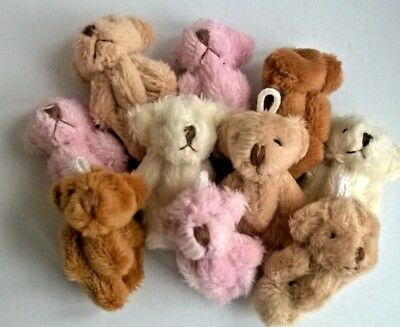 Teddy Bears x 10 small fluffy assort slight seconds Dolls House Miniatures F3090