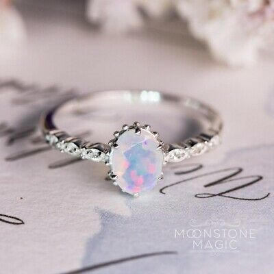 925 Silver White Fire Opal Elegant Women Jewelry Wedding Engagement Ring Sz6-10