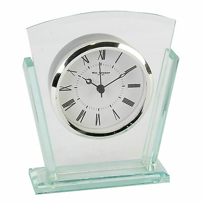 Glass Art Deco Fan Shaped Mantel Clock.new And Boxed.