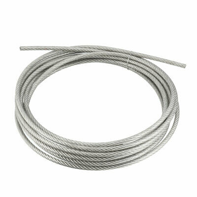 Stainless Steel Wire Rope Cable 5mmx5m 6 Gauge PVC Coated Hoist Grinder Pulley