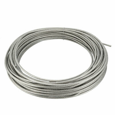 Stainless Steel Wire Rope Cable 4mmx25m 8 Gauge PVC Coated Hoist Grinder Pulley