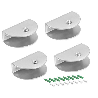 Glass Shelf Brackets Stainless Steel Clamp Half Round for 10-14mm , 4Pcs
