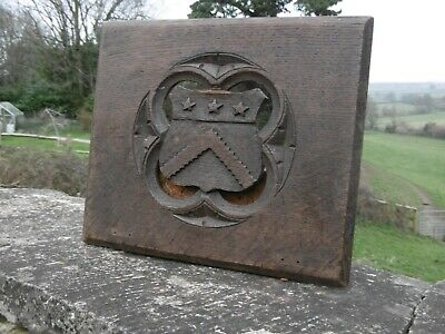 SUPERB 19thc GOTHIC OAK CARVED PANEL WITH CREST IN TRACERY WINDOW c.1870