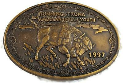 1997 Bison Buffalo Brass Belt Buckle- Running Strong For American Indian Youth