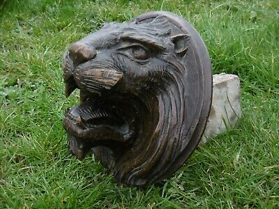 MAGNIFICENT 19thc LARGE GOTHIC OAK CARVED HEAD OF A LION C.1870's