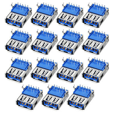 PCB USB Connector Type-A 3.0 Female Jack 9 Pin Bend Foot 90 Degree  15pcs