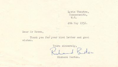 *great Actor Richard Burton Rare 1952 Autograph Letter*