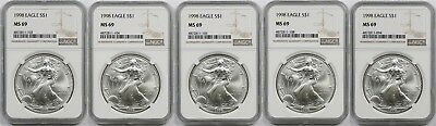 Lot 5- 1998 Silver Eagle Dollar $1 MS 69 NGC 1 oz Fine Silver (5 Coins)