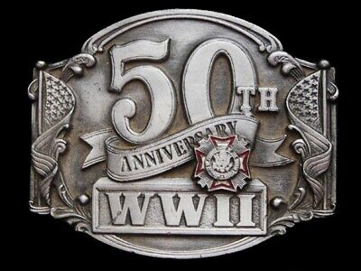 Mh09105 Vintage 1991 *Veterans Of Foreign Wars Wwii 50Th Anniv.* Military Buckle