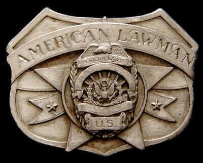 Mg24117 Vintage 1986 Siskiyou **American Lawman** Pewter Belt Buckle