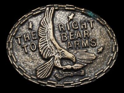 MH11172 *NOS* VINTAGE 1970s **THE RIGHT TO BEAR ARMS** 2ND AMENDMENT BELT BUCKLE