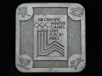 Pa01155 Vintage 1980 **Xxiii Olympic Winter Games Lake Placid** Belt Buckle