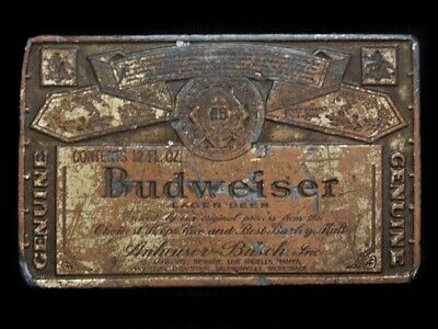 MI23135 VINTAGE 1970s **GENUINE BUDWEISER LAGER BEER** BELT BUCKLE