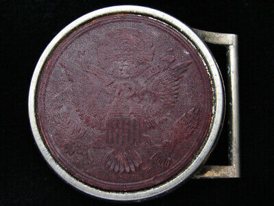 PH15143 VINTAGE 1970s *GREAT SEAL OF THE UNITED STATES* PATRIOTIC LEATHER BUCKLE