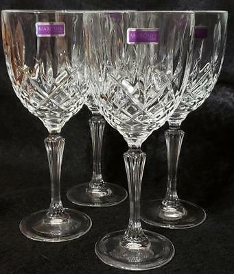 """Large 9"""" Waterford Marquis Crystal Glass Water Wine Goblets  Markham Pattern"""