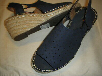 f9a5368c1862 Clarks Artisan Petrina Gail Leather Espadrille Wedge Sandals 9.5 M Navy 9.5M