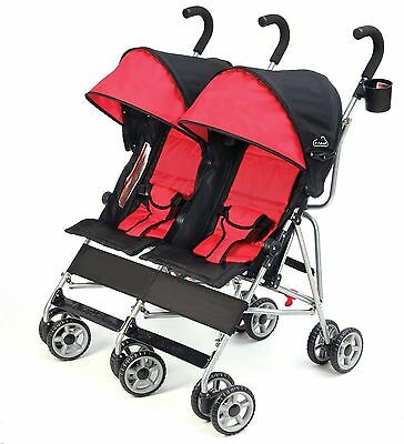 Cloud Side-by-Side Lightweight Double Stroller with Recline Scarlet XA2